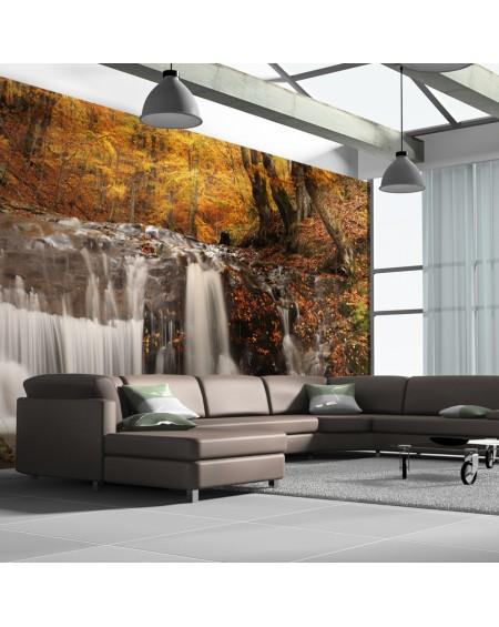 XXL stenska poslikava Autumn landscape waterfall in forest