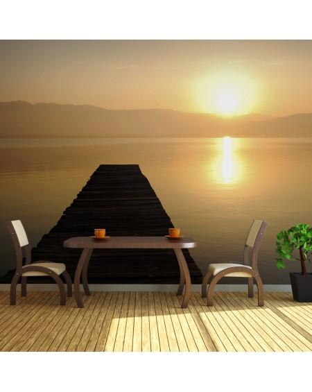XXL stenska poslikava jetty, lake, sunset...