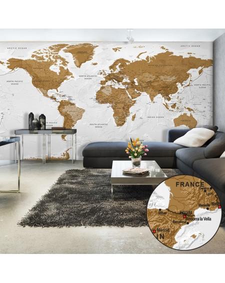 XXL stenska poslikava World Map White Oceans II