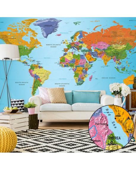XXL stenska poslikava World Map Colourful Geography II
