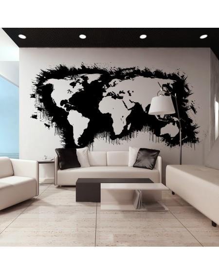 XXL stenska poslikava White continents, black oceans...