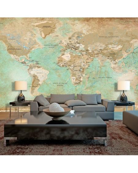 XXL stenska poslikava Turquoise World Map II