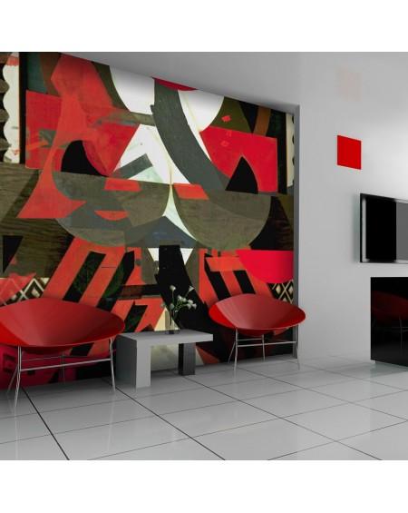 Stenska poslikava - Art composition in red