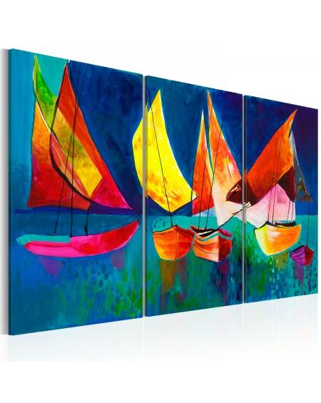 Ročno naslikana slika Colourful sailboats