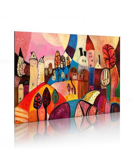 Ročno naslikana slika Colourful village