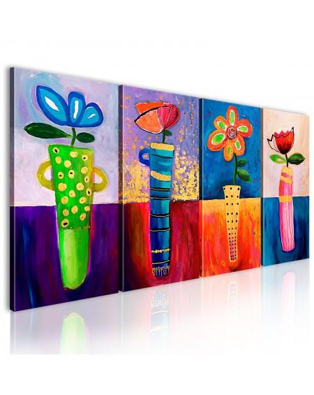 Ročno naslikana slika Rainbow flowers