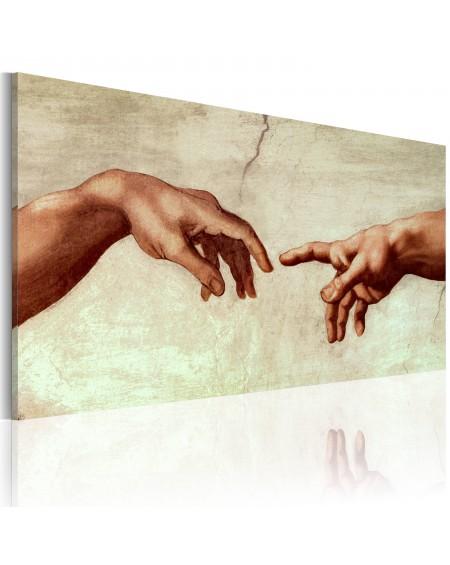 Ročno naslikana slika The creation of Adam fragment of painting