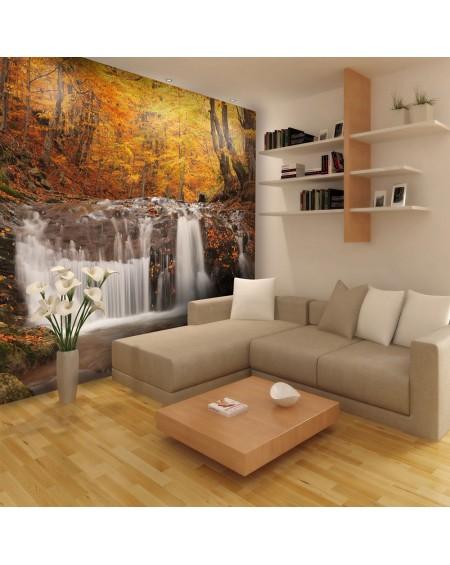 Stenska poslikava - Autumn landscape : waterfall in forest