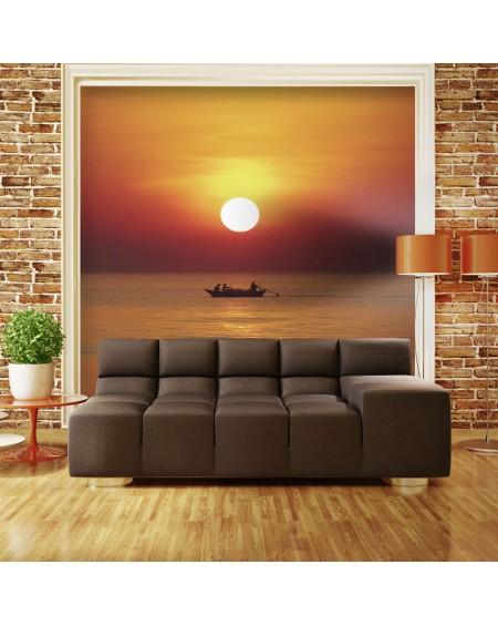 Stenska poslikava Sunset with fishing boat