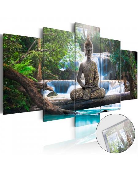 Akrilni tisk Buddha and Waterfall [Glass]