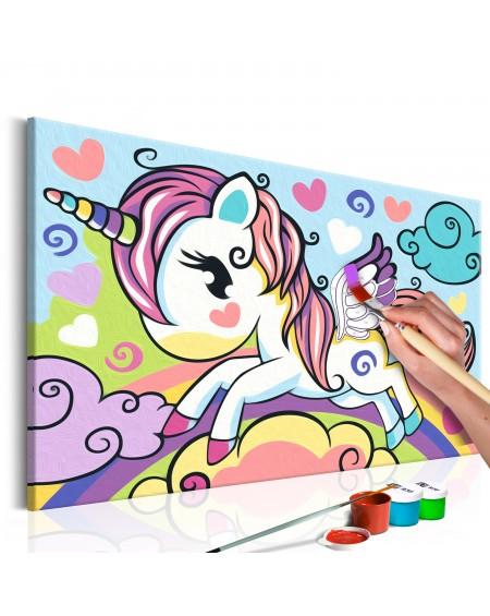 Platno za samostojno slikanje Colourful Unicorn