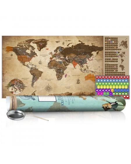 Skrapkarta Vintage Map Poster (English Edition)