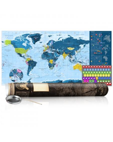 Skrapkarta Blue Map Poster (English Edition)