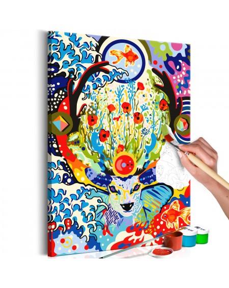 Platno za samostojno slikanje Deer and Flowers