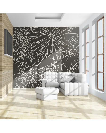 Stenska poslikava - Black and white floral background
