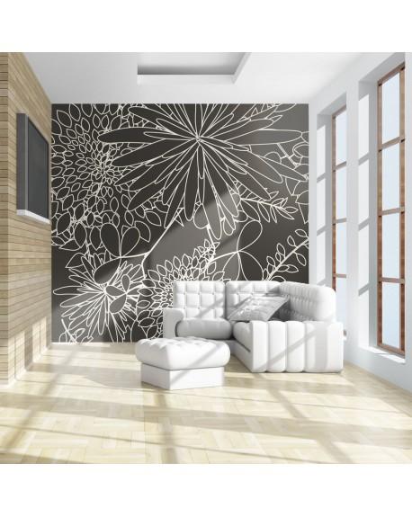 Stenska poslikava Black and white floral background