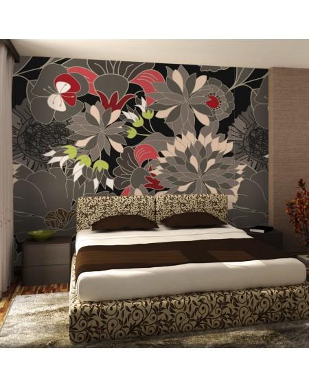 Stenska poslikava - floral design - gray