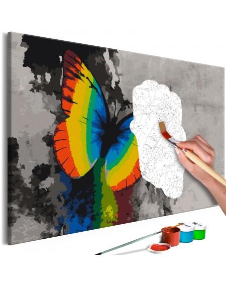 Platno za samostojno slikanje Colourful Butterfly