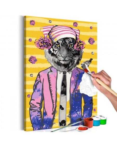 Platno za samostojno slikanje Tiger in Hat
