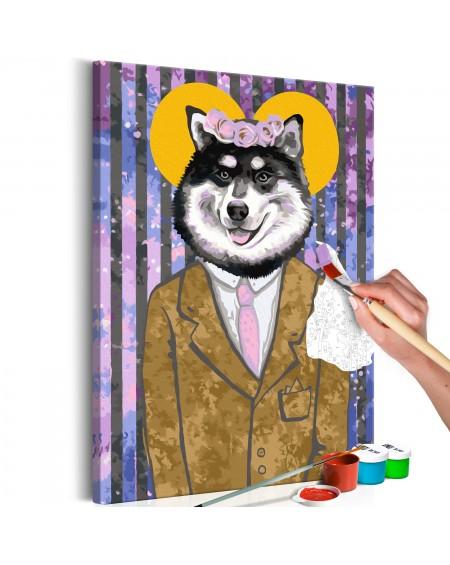 Platno za samostojno slikanje Dog in Suit