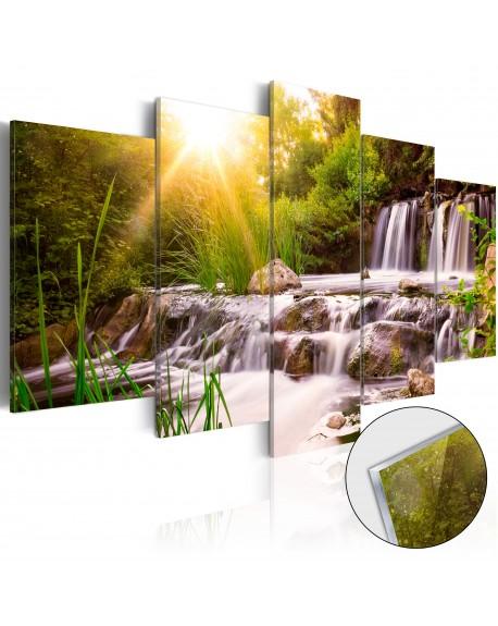 Akrilni tisk Forest Waterfall [Glass]