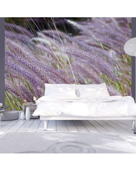 Stenska poslikava - Green field and purple flowers