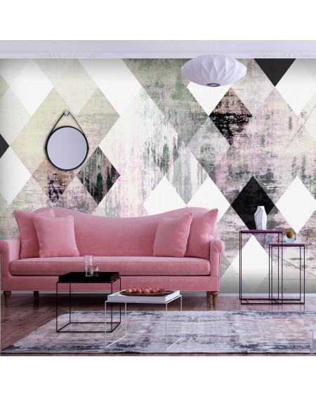 Stenska poslikava Rhombic Chessboard (Pink)
