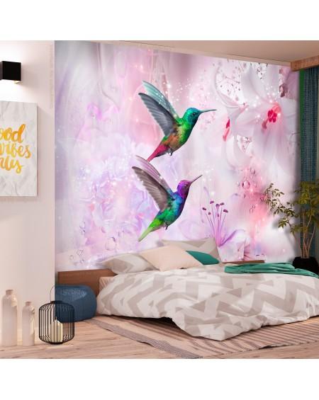Stenska poslikava Colourful Hummingbirds (Purple)