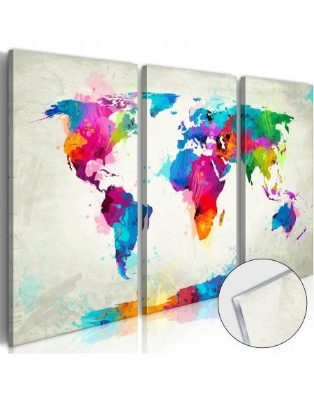Akrilni tisk - World Map: An Explosion of Colours [Glass]