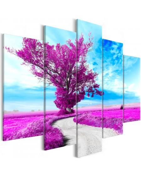 Slika Tree near the Road (5 Parts) Violet