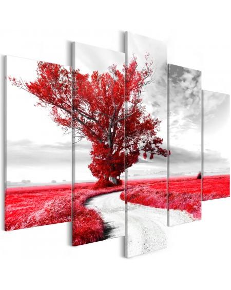 Slika Tree near the Road (5 Parts) Red