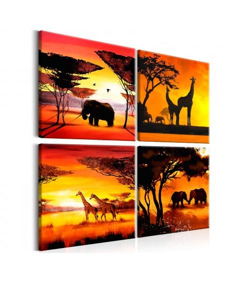 Slika African Animals (4 Parts)