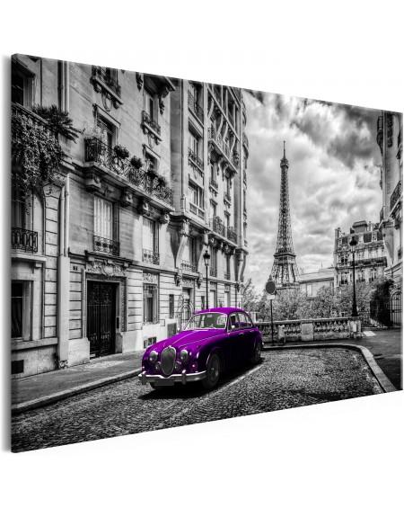 Slika Car in Paris (1 Part) Violet Wide