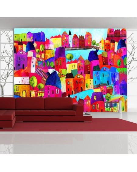 Stenska poslikava - Rainbow-hued town