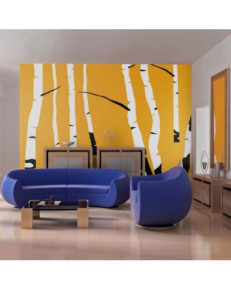 Stenska poslikava Birches on the orange background