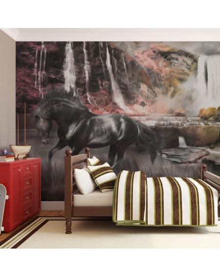 Stenska poslikava - Black horse by a waterfall