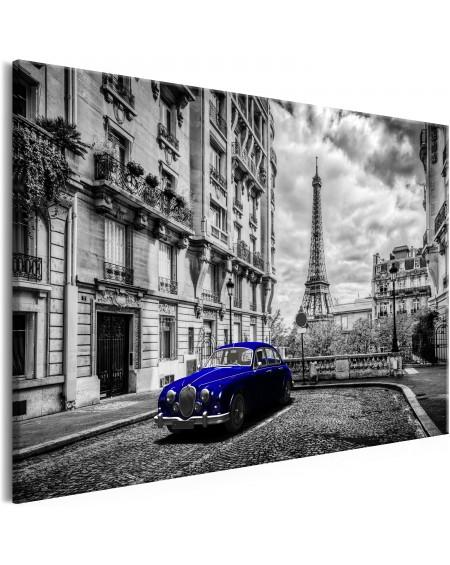 Slika Car in Paris (1 Part) Blue Wide