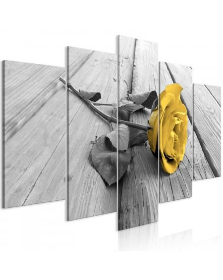 Slika Rose on Wood (5 Parts) Wide Yellow
