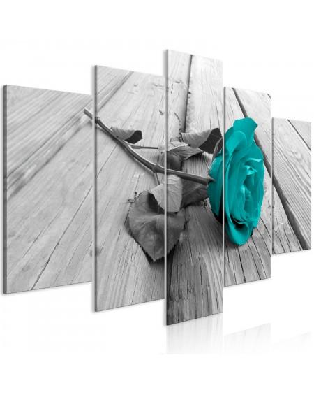 Slika Rose on Wood (5 Parts) Wide Turquoise