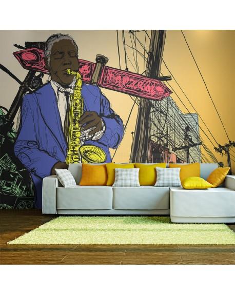 Stenska poslikava Saxophonist in New York