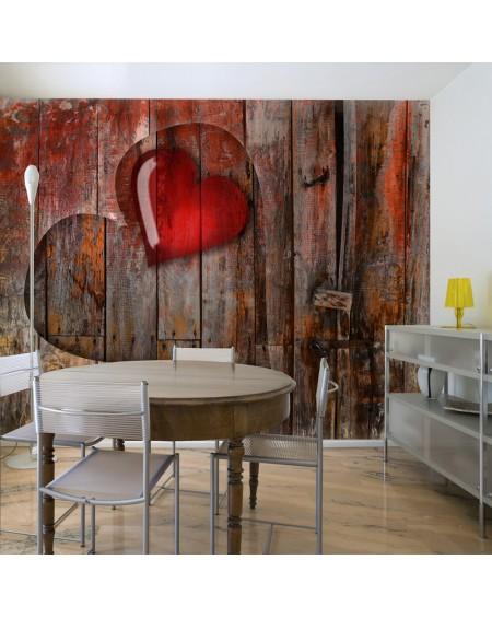 Stenska poslikava Heart on wooden background