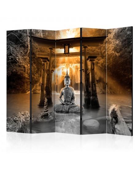 Španska stena Buddha Smile (Orange) II [Room Dividers]