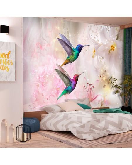 Samolepilna fototapeta Colourful Hummingbirds (Pink)