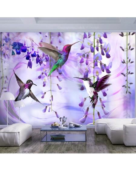 Samolepilna fototapeta Flying Hummingbirds (Violet)
