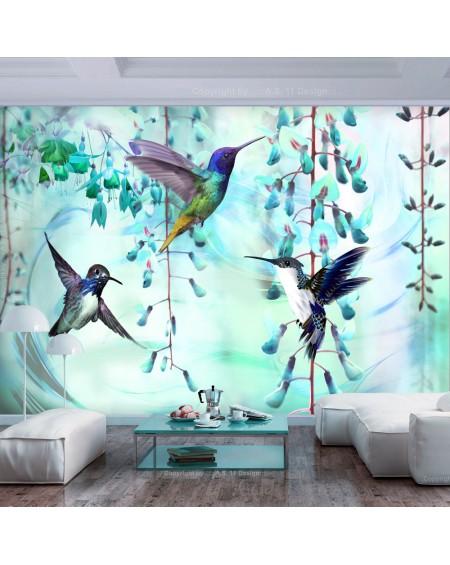 Samolepilna fototapeta Flying Hummingbirds (Green)