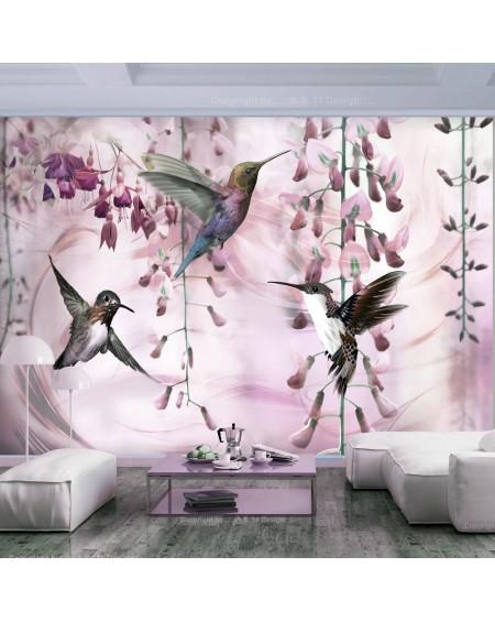 Samolepilna fototapeta Flying Hummingbirds (Pink)