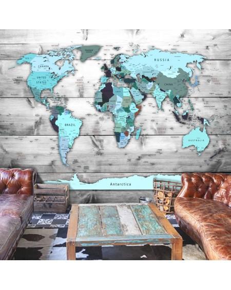 Samolepilna fototapeta World Map Blue Continents