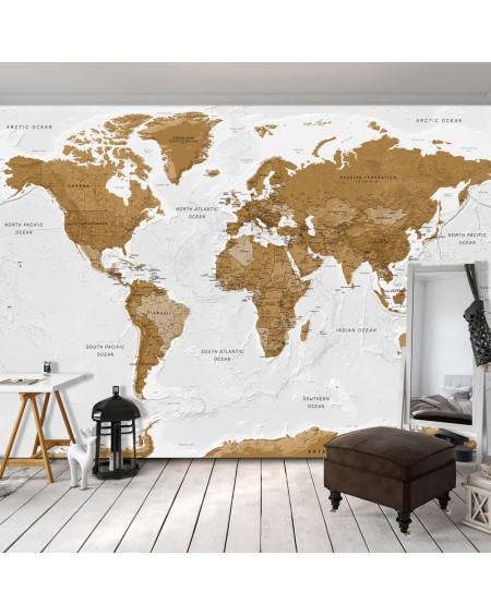 Samolepilna fototapeta World Map White Oceans