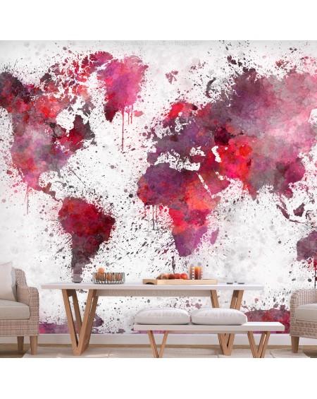 Samolepilna fototapeta World Map Red Watercolors