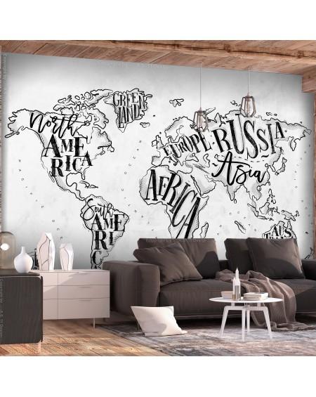 Samolepilna fototapeta Retro Continents (Grey)